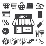 Shopping icons set. Illustration Stock Images