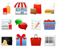 Shopping icons set Stock Images