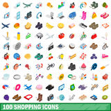 100 shopping icons set, isometric 3d style Stock Photo