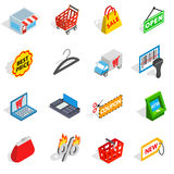 Shopping icons set, isometric 3d style Royalty Free Stock Photo