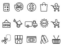 Shopping icons set - line form Stock Image