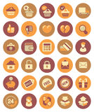 Shopping icons. Set of modern flat shopping icons in circles Royalty Free Stock Image