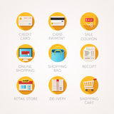 Shopping icons set. Modern flat colored illustrations. Online commerce and retail business related icons. Stock Images