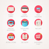 Shopping icons set. Modern flat colored illustrations. Online commerce and retail business related icons. Royalty Free Stock Photography