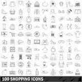 100 shopping icons set, outline style. 100 shopping icons set in outline style for any design vector illustration Stock Images