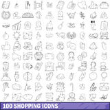 100 shopping icons set, outline style Royalty Free Stock Photos