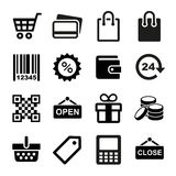 Shopping Icons set. Set pictogram supermarket services, Shopping Icons Stock Photography