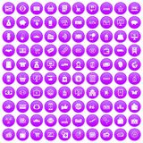100 shopping icons set purple. 100 shopping icons set in purple circle isolated on white vector illustration Stock Photos