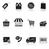 Shopping icons set. With reflection Stock Image