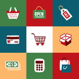 Shopping Icons Set and Signs. Freehand drawing vector illustration Royalty Free Stock Photos
