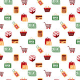 Shopping Icons Set and Signs pattern Stock Photos