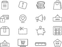 Shopping icons set. Simple design. Shopping 12 simply icons set. Thin line, minimalistic design stock illustration