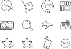 Shopping icons set. Simple design. Shopping 12 simply icons set. Thin line, minimalistic design royalty free illustration