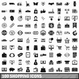 100 shopping icons set in simple style Royalty Free Stock Image
