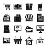 Shopping icons set, simple style Stock Photography