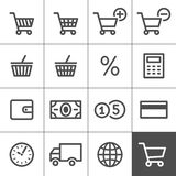 Shopping icons set - Simplines series Stock Photos