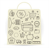 Shopping icons set. Thin line. Stock Images