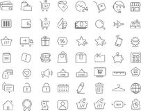 Shopping. 64 icons set. Thin line design. 64 shopping icons set. Thin line simple design Stock Illustration