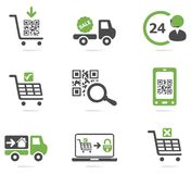Ecommerce icon set. Two colors online shopping icon set