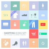 Shopping icons set. Vector abstract squares background illustration with icons, typography and pictograms of shopping | ready to place your content vector illustration