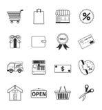 Shopping icons set. Vector shopping icons set 16 black color Stock Photo