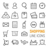 Shopping icons set. Vector flat line illustrations. Shopping. Vector flat line illustrations Royalty Free Stock Images