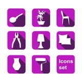 Shopping icons set. Vector. Home shop Stock Image