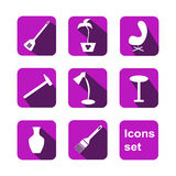 Shopping icons set. Vector. Home shop Royalty Free Stock Photo
