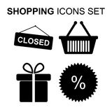 Shopping icons set. Vector illustration Royalty Free Stock Photo