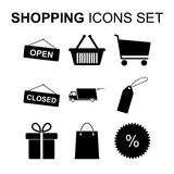 Shopping icons set. Vector illustration. Shopping icons set. Silhouette symbols. Vector illustration Stock Photos