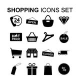 Shopping icons set. Vector illustration. Shopping icons set. Silhouette symbols. Vector illustration Royalty Free Stock Photo