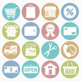 Shopping icons set. Vector white icons shopping set 16 with color circle stock illustration