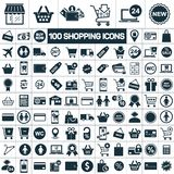 Shopping icons set on white background. Hundred shopping icons set on white background Royalty Free Stock Image