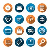 Shopping Icons with Shadow Royalty Free Stock Photos