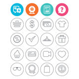 Shopping icons. Shirt, gift box and currency. Stock Photo