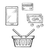 Shopping icons with tablet, money and credit card Royalty Free Stock Photo
