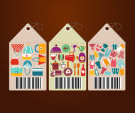 Shopping Icons and Universal tags flat icons shape Royalty Free Stock Photo