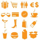Shopping icons vector. On white Royalty Free Stock Photos