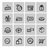 Shopping icons. Vector black shopping icons set on gray Stock Images