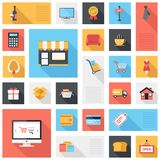 Shopping icons. Vector collection of modern flat and colorful shopping icons with long shadow. Design elements for mobile and web applications Stock Image