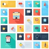 Shopping icons. Vector collection of modern flat and colorful shopping icons with long shadow. Design elements for mobile and web applications royalty free illustration