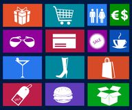 Shopping icons vector Royalty Free Stock Photos