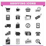 Shopping Icons Vector Set. Vector set of shopping and money icons and design elements for web pages, e-commerce store, online shop and retail business services Royalty Free Stock Photography