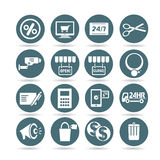 Shopping icons, web buttons. Set of 16 shopping icons, round buttons royalty free illustration