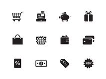 Shopping icons on white background. Vector illustration Stock Images