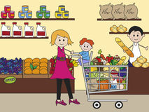 Shopping. Illustration of shopping with mother and baby Stock Photo