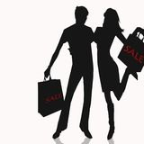 Shopping illustration for sale white background Stock Photo