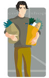 Shopping illustration series. Vector illustration of a young man, holding packages with food products Stock Image