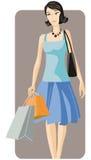 Shopping illustration series. Vector illustration of a shopping girl Royalty Free Stock Photos