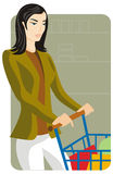 Shopping illustration series. Vector illustration of a shopping girl in a grocery's store or a supermarket Royalty Free Stock Image